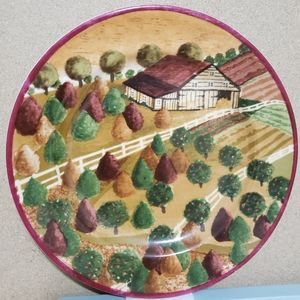 Set of Four Vintage Country Village Plates